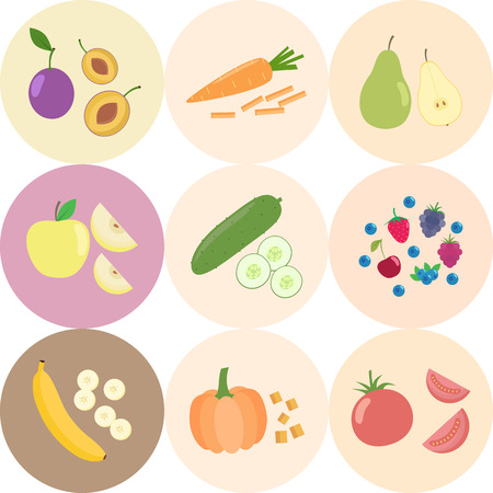 Set of fresh healthy vegetables and fruits. Slices of fruits and vegetables. Flat design. Organic farm illustration. Healthy lifestyle vector design elements.