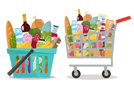 Grocery in a shopping cart and shopping basket Vector illustration Flat design.