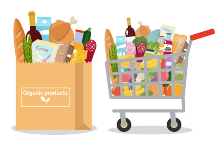 Grocery in a shopping cart and a paper bag Vector illustration Flat design.