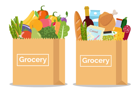 Grocery in a paper bag and vegetables and fruits in paper bag Vector illustration Flat design. Çizim