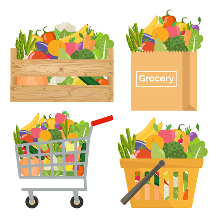 Paper bag, shopping cart and basket, wooden crate with vegetables and fruits vector set Vectores