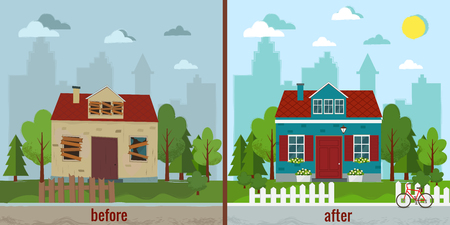 House before and after repair vector illustration Flat design.