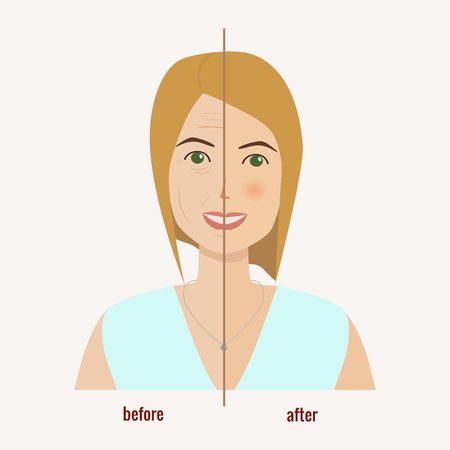 Face of a woman before and after facial treatment vector illustration Illustration
