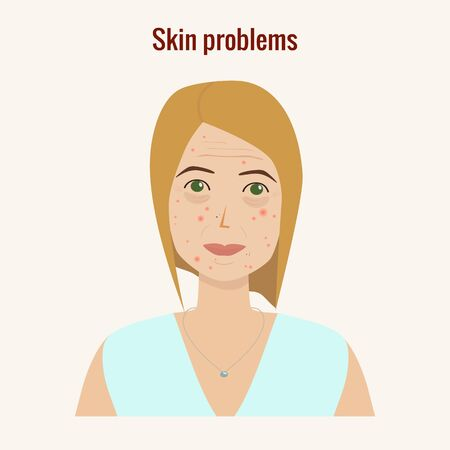 Womans face with skin problems vector illustration