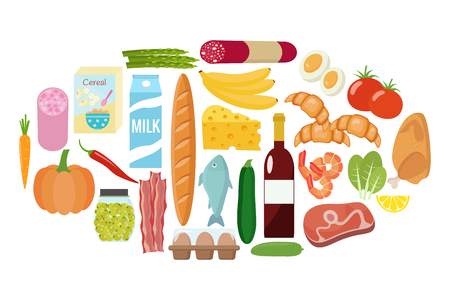 Grocery set flat design vector illustration