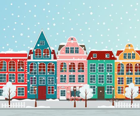 Winter european town vector illustration.
