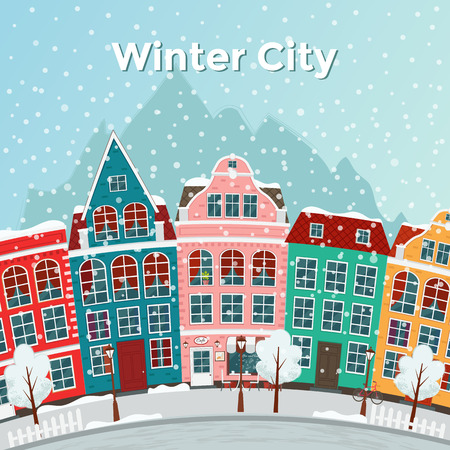 Winter european town vector illustration.