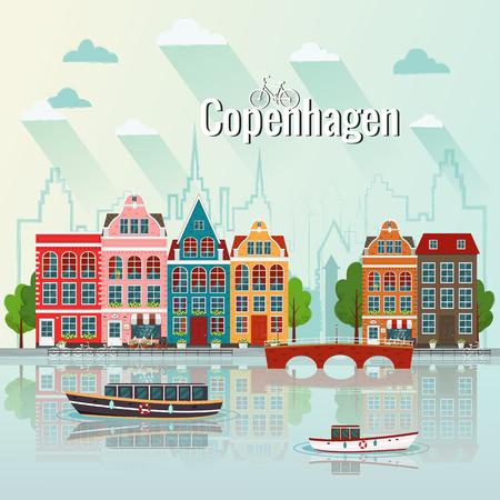 코펜하겐 도시 풍경 벡터 일러스트 레이 션. 스톡 콘텐츠 - 90802681