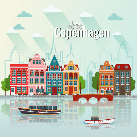 Copenhagen cityscape vector illustration.