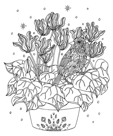Bird and flowers coloring page. Atlantic canary vector illustra