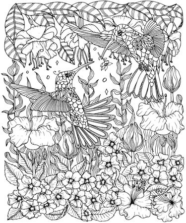 Hummingbirds and flowers coloring page