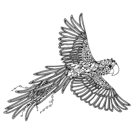 Bird And Flowers Coloring Page Cuban Tody Vector Illustration