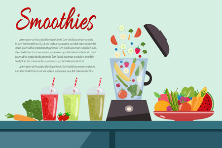 Cooking smoothies. Plate full of vegetables and fruits. Blender food processor