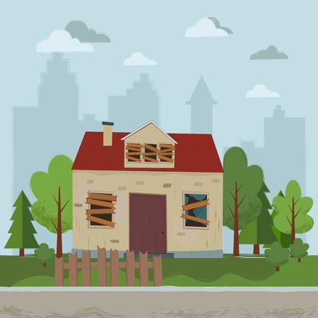 Verlaten huis. Plat ontwerp. Vector illustratie.