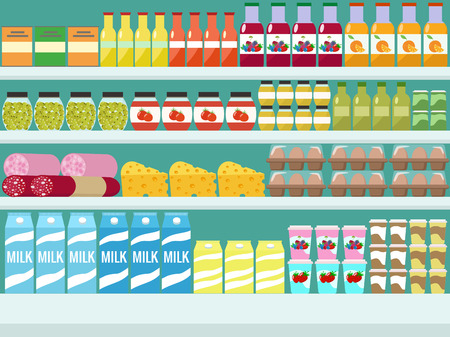 Store shelves with groceries, food and drinks. Vector flat illus
