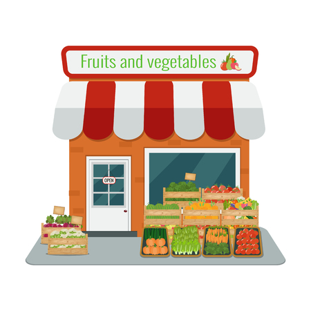 Illustration vectorielle du magasin de fruits et légumes. Design plat. Banque d'images - 91351468