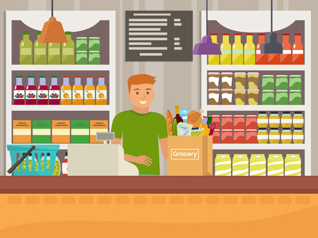 Vector illustration of cashier in grocery store. Flat design.