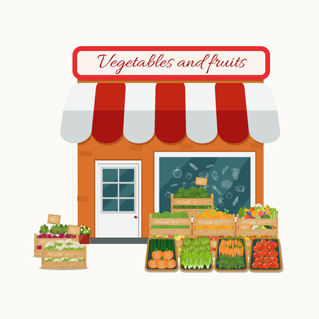 Vector illustration of fruits and vegetables store. Flat design.
