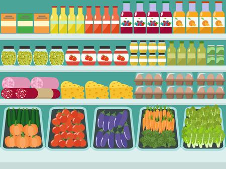 Rangez des étagères avec des produits d'épicerie, de la nourriture et des boissons. Illustration de plat vectorielle.