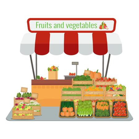 Local farm fruits and vegetables market. Vector flat illustration.