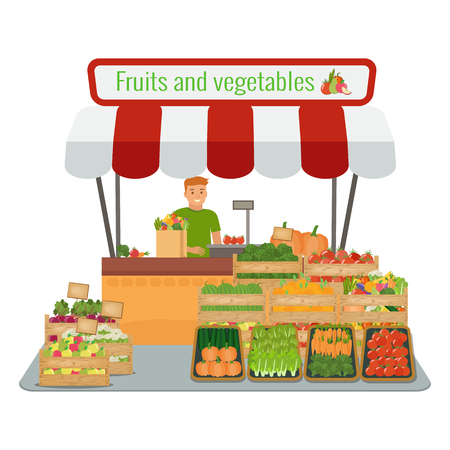 Local farm fruits and vegetables market. Happy farmer. Vector flat illustration.