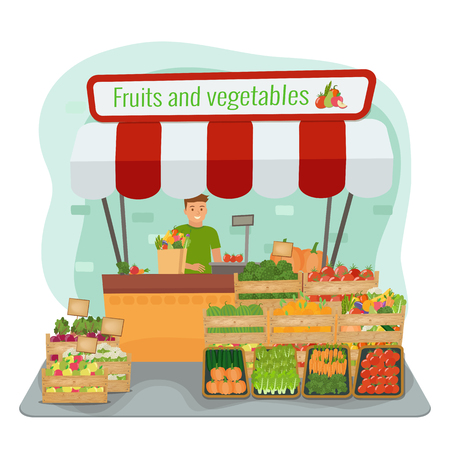 Local farm fruits and vegetables market. Happy farmer. Vector flat illustration.
