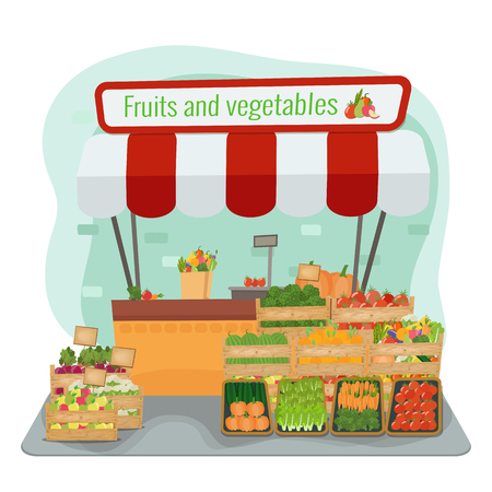 Local farm fruits and vegetables market. Vector flat illustration.