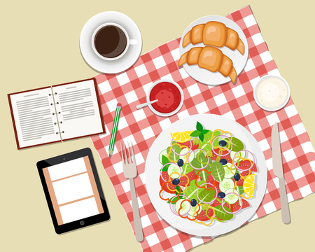 Vector illustration of healthy breakfast or business lunch on the table. Coffee break. Ccoffee, salad, toasts and croissants. Vector flat illustration. Vettoriali