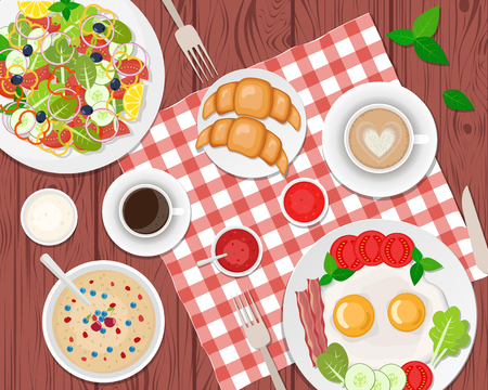 Vector illustration of healthy breakfast on the table. Fried eggs, coffee, salad, toasts and croissants. Vector flat illustration.