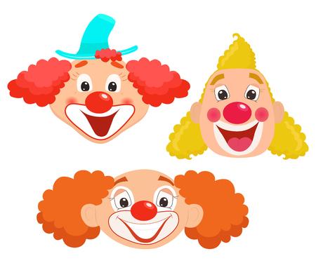 Set of cartoon clown faces. Vector illustration. Vettoriali