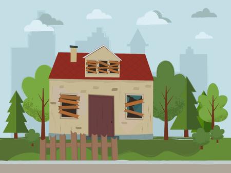 Opuszczony dom. Płaska konstrukcja. Ilustracji wektorowych. Ilustracje wektorowe