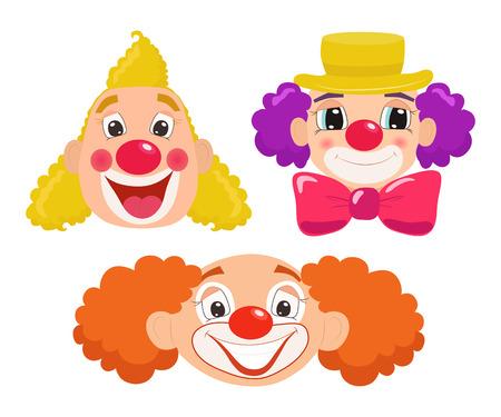 Set of cartoon clown faces. Vector illustration. Illustration