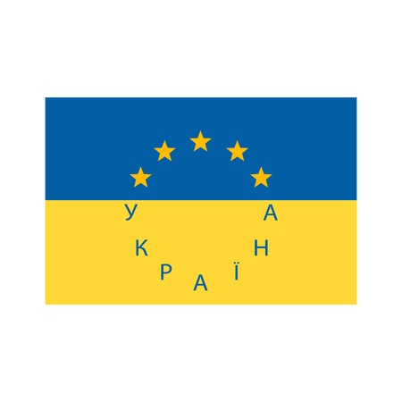Flag of Ukraine and European Union vector illustration.