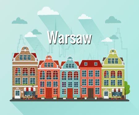 Vector illustration of Warsaw, Poland city In Flat design. Ilustração