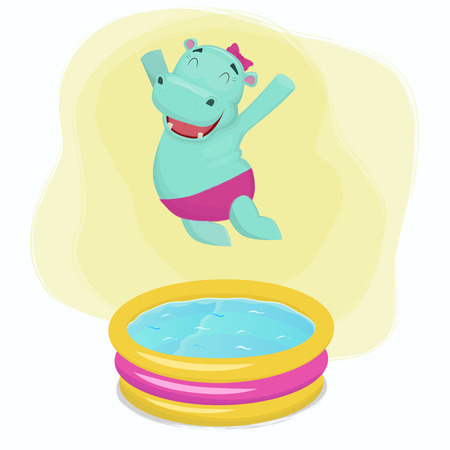 Happy hippo girl jumping into water pool vector illustration. Illustration