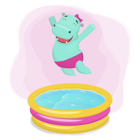 Happy hippo girl jumping into waterpool. Vector illustration.