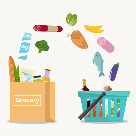 Groceries falling from a shopping basket into a paper bag. Vector illustration flat design. Иллюстрация