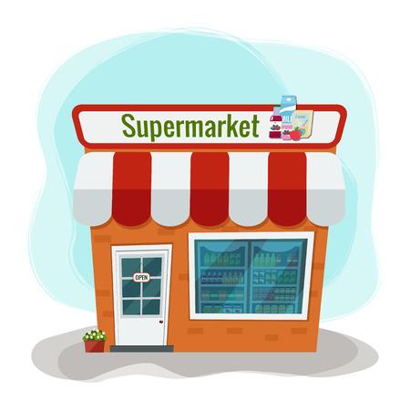 Vector illustration of grocery store. Supermarket illustration. Flat design.