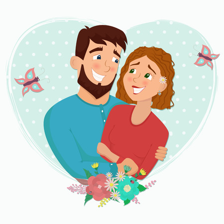 Man and woman in love. St. Valentine's day cartoon vector illustration. Çizim
