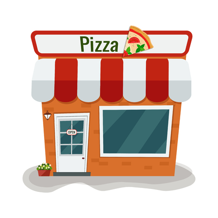 Cartoon pizzeria. Vector illustration. Flat design. Illustration