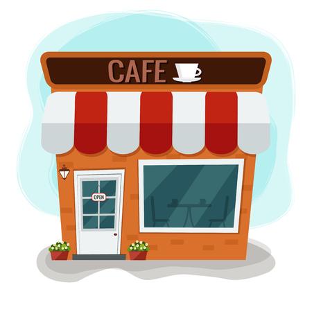 City cafe. Coffee shop. Flat design. Vector illustration.