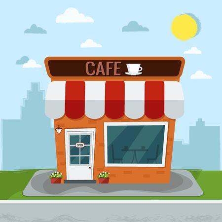 City cafe coffee shop flat design vector illustration. Illustration