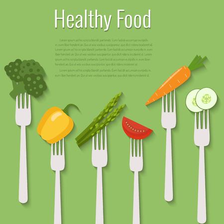 Vegetables on forks, healthy food vector illustration. Illustration