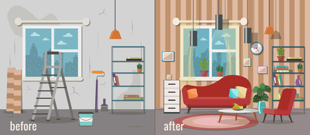 Living room before and after repair. Home interior renovation. Vector flat illustration. Ilustração