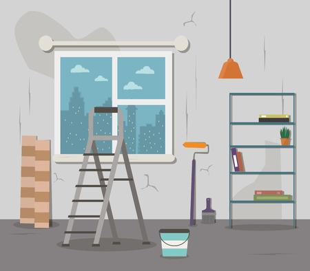 Room renovation. Vector flat illustration.
