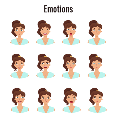 Big set of girls emotions. Womans face expressions. Vector flat illustration. Illustration