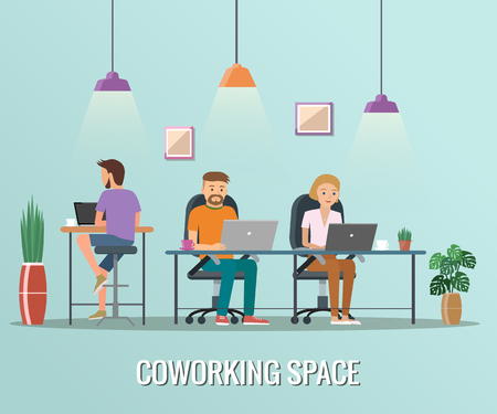Co-working space vector illustration. Working place, office. People working in the office flat design. Illustration