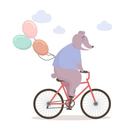 Cute joyful bear riding a bicycle. Vector illustration.