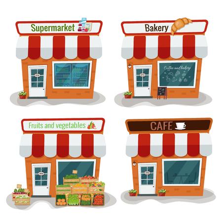 Supermarket, bakery, fruits and vegetables, cafe vector illustration. Flat design Illustration