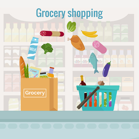 Groceries falling from a shopping basket into a paper bag. Vector illustration flat design. Stock Illustratie